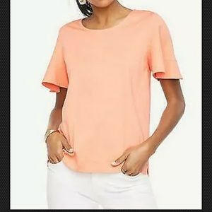 NWT Talbots Pima Cotton Flutter Tee Coral XL